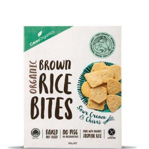 Ceres Organics Brown Rice Bites Sour Cream & Chives 100G