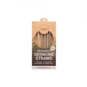 Caliwoods Bent Metal Drinking Straws 4Pk