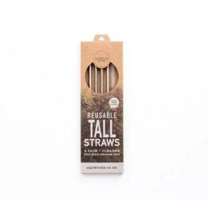 Caliwoods Reusable Metal Straws Tall 4Pk