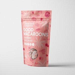 Little Bird Organics Good Macaroons Strawberry & White Cacao 125G